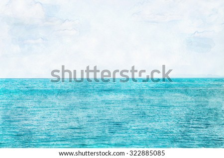 Ocean and sky background, digital painting with watercolor style, space for word and wallpaper background - stock photo