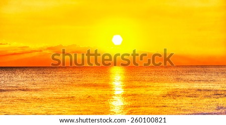 Ocean and sunset - stock photo