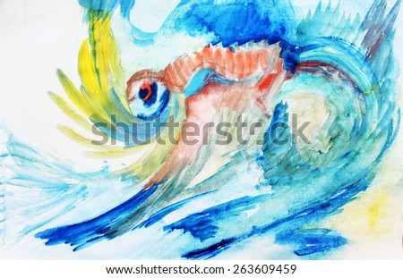 Ocean background or Blue creative background, Eye abstract - stock photo