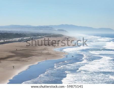 Ocean Beach, San Francisco, California - stock photo
