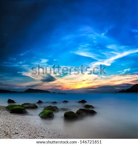 Ocean beautiful sunset landscape - stock photo