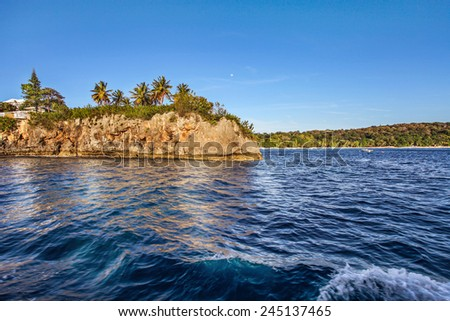 ocean Caribbean Dominican coastal coast shore waterfront coastline shoreline beachfront vegetation flora greenery foliage verdure plant life undergrowth - stock photo