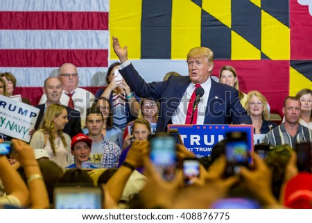 OCEAN CITY - APRIL 20: Donald Trump republican candidate meeting with supporters in Ocean City, MD on April 20, 2016 - stock photo