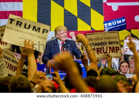 OCEAN CITY - APRIL 20: Republican candidate in presidential race DOnald Trump talking to supporters in Ocean City, MD on April 20, 2016