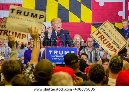 OCEAN CITY - APRIL 20: Republican presidential candidate Donald Trump speaks at rally in Ocean City, MD on April 4, 2016  - stock photo