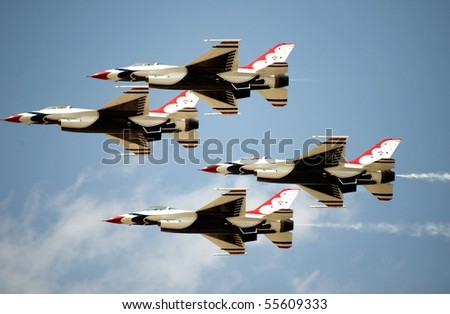 OCEAN CITY, MD - JUNE 5: US Air Force Thunderbirds flying in formation at the Ocean City Air Show June 5, 2010 in Ocean City, Maryland.