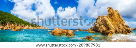 Ocean coastline scenic panoramic view in Costa Paradiso, Sardinia, Italy - stock photo