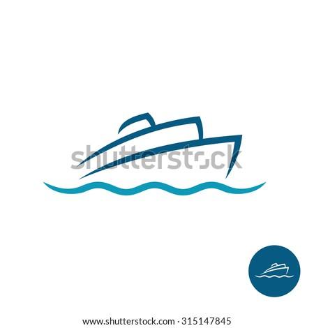 Ocean cruise liner ship silhouette simple linear logo - stock photo