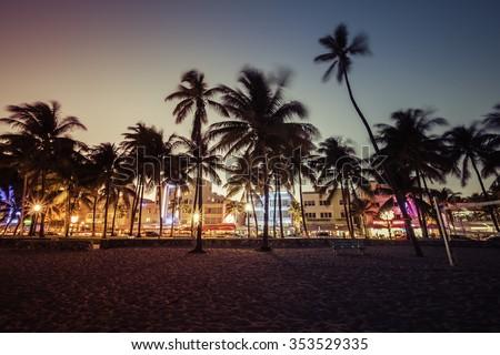 Ocean Drive street with illuminated buildings, South Beach , Florida - stock photo