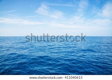 Ocean endless.Ocean blue.Ocean sky.Empty Blue Ocean and Blue Sky - stock photo