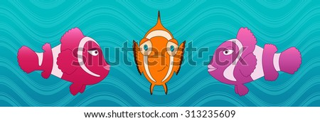 Ocean fishes underwater cartoon style raster illustration. Wildlife of a clown fish. Kids book digital picture. Under the sea. - stock photo