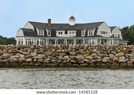 Ocean front home - stock photo