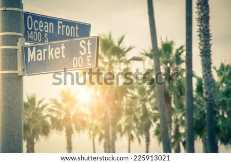Ocean Front Walk of Venice Beach in Venice, California - stock photo