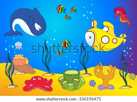 Ocean inhabitants and submarine. jellyfish, starfish, sea-horse, reefs and corals in the ocean. illustration - stock photo