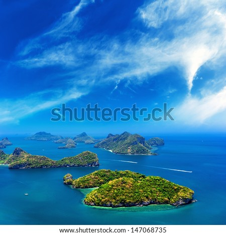 Ocean islands panoramic landscape - stock photo
