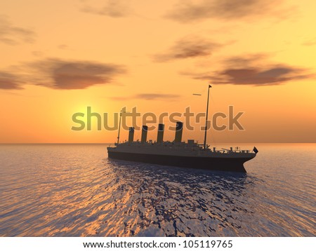 Ocean Liner with Sunset Computer generated 3D illustration - stock photo