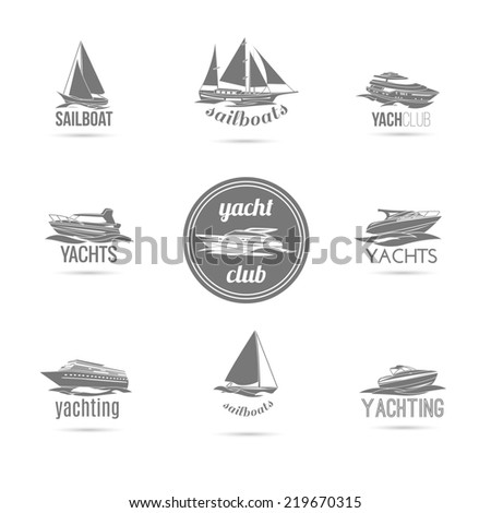 Ocean marine yacht club sail and speed motor boats black silhouettes graphic sketch emblems isolated  illustration - stock photo