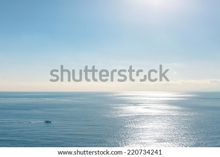 Ocean of Tokyo Japan, with clear blue sky - stock photo