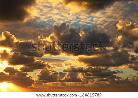 Ocean orange sunset - stock photo