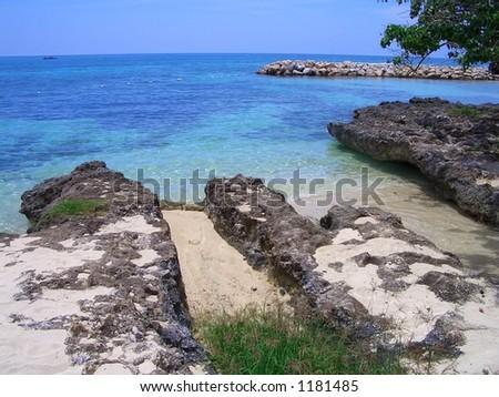 OCEAN ROCKS, Negril, Jamaica, Caribbean. - stock photo