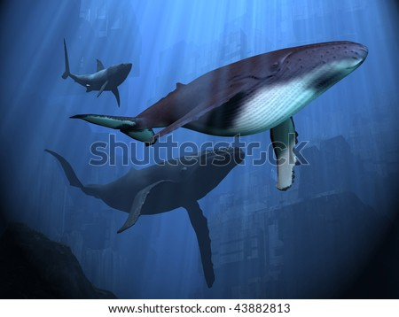 OCEAN RUINS - Two Humpback whales and a shark swim among ancient city ruins. - stock photo