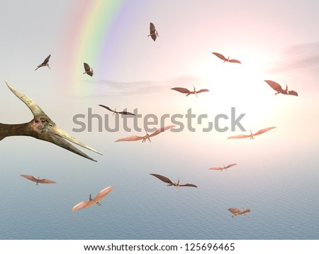 Ocean Sailing Pteranodon Ingens Computer generated 3D illustration - stock photo