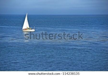 Ocean Sailing. Small Boat on the Ocean. Recreation Photo Collection