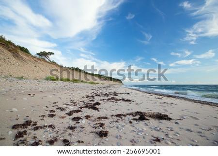 Ocean scene with sandy coastline - stock photo