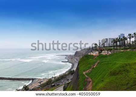 ocean shore and road at the big city - stock photo