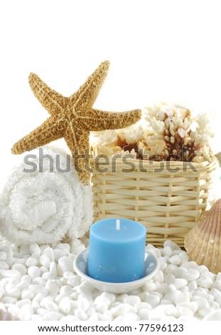 Ocean Spa on white pebbles - stock photo