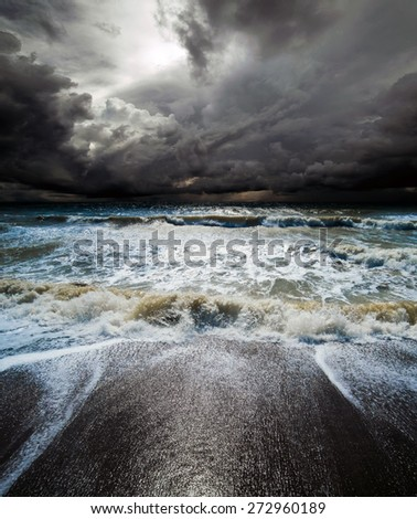 Ocean storm. Tropical hurricane cyclone - stock photo