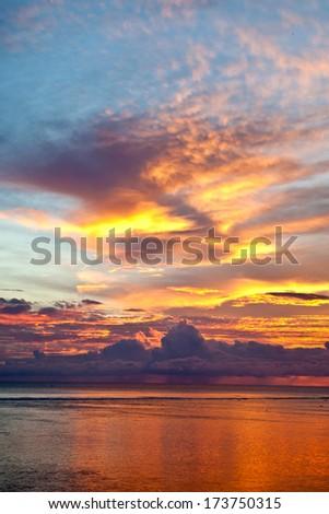 Ocean sunset in Mauritius island - stock photo