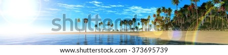 ocean sunset, island in the sea, panoramic view of sunset in the sea, palm trees on the island. - stock photo