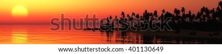ocean sunset, sea sunset tropical island, 3D rendering - stock photo