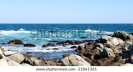 ocean surf and rocky reef.