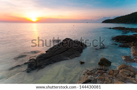 Ocean twilight at Koh Samet, Thailand - stock photo