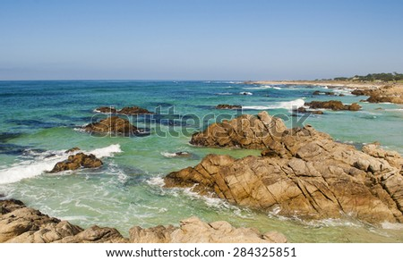 Ocean view along 17 mile drive in Monterey California.  - stock photo