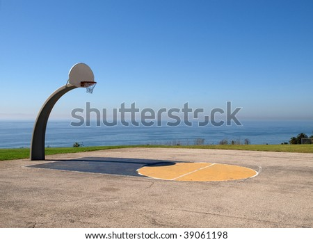Ocean view basketball at Angel Gate Park in Los Angeles California. - stock photo