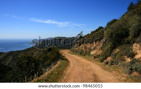 Ocean view from a dirt fire road, Catalina Island, California