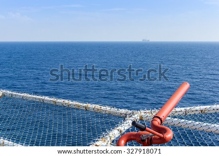Ocean view from a helideck of a offshore construction barge - stock photo