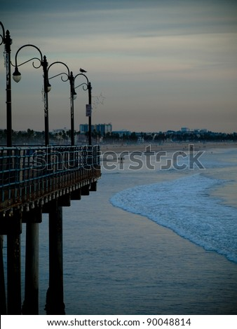 Ocean view from Santa Monica Pier in California, USA - stock photo