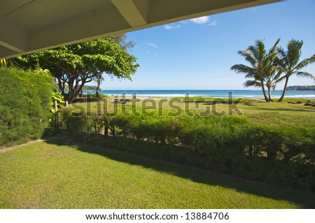 Ocean View From the Lanai - stock photo