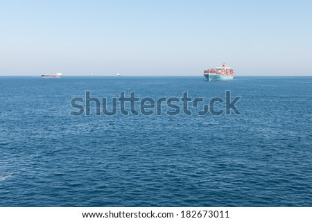 Ocean view from the ship, Strait of Gibraltar - stock photo