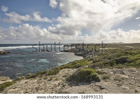Ocean View of Rottenest Island, Western Australia - stock photo