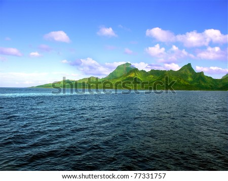 Ocean view of the Island of Moorea in French Polynesia - stock photo