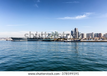 Ocean view of the skyline of San Diego, California during a bright day.