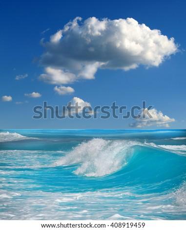 ocean-view seascape landscape - stock photo