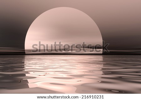 Ocean view with large sun or moon over water - stock photo