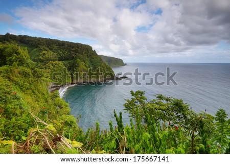 Ocean views and cliffs from Hana highway, Maui island, Hawaii, USA - stock photo