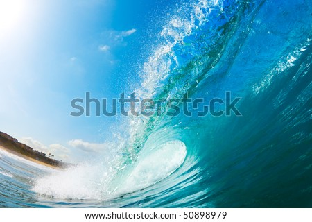 Ocean Wave and Beach, View from in the Water, a Surfers Perspective - stock photo